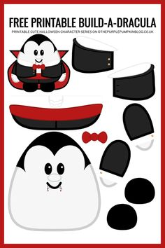 Use this free printable paper Dracula template to Build-a-Dracula for Halloween! This fun craft helps children improve their cutting and pasting skills. Halloween Paper Crafts, Halloween Activities, Cute Halloween, Holiday Crafts, Printable Crafts, Free Printables, Printable Paper, Felt Diy, Felt Crafts