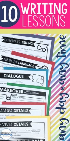 These lessons can be easily incorporated into writing workshop, writing units, writing centers, or your everyday writing instruction. This resource includes 10 writing lessons to help studnets with writing a lead, word choice, voice, transistion, details, similies, dialogue, sensory details, showing vs. telling, and figurative language. Perfect to add to any writing unit! Writing Lessons, Teaching Writing, Writing Prompts, Sensory Details, Writing Centers, Middle School Writing, Brain Waves, Figurative Language, Writer Workshop