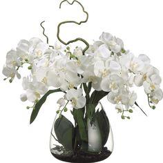 Beautifully made white phalaenopsis orchid silk flower arrangement. Product code: Wholesale prices on high quality orchid arrangements. Silk Orchids, Phalaenopsis Orchid, White Orchids, Orchids Garden, Elegant Centerpieces, Flower Centerpieces, Wedding Centerpieces, Faux Flowers, Silk Flowers
