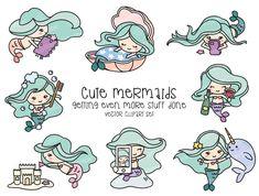 Premium Vector Clipart - Kawaii Mermaid - Cute Mermaid Clipart - Even More Mermaids - Light Skin Pin Cute Mermaid, Mermaid Art, Cute Clipart, Vector Clipart, Mermaid Clipart, Mermaid Invitations, Creation Art, Clip Art, Social Icons