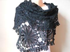 Crochet Lace Shawl Stole Black Hand Crocheted by MyKnitCroch, $59.00