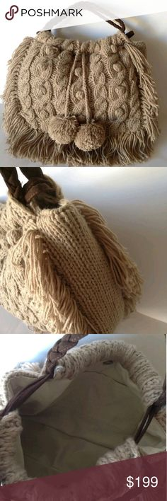 New! Anthropologie Knit Sweater Bag Tan New without tags! This is the adorable Madison 88 cable knit sweater crochet bag by Anthropologie! This is sooooo cute! It has a warm friendly cuddly look that makes you want to hug it like a teddy bear. A beautiful shade of tan beige with brown braided handles, fringes and pompoms make this bag a fabulous style statement that's perfect for cool weather! A snap closure, two interior pockets and a creamy dreamy lining accent this bag nicely. Plus this…