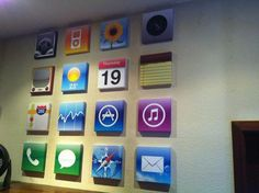 iphone icon paintings! how cute, teen room