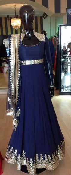 navy blue mirror work dress