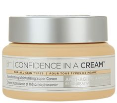 Confidence in a Cream Transforming Moisturizing Super Cream is the first skincare product from IT Cosmetics. The Anti-Aging Armour Concentrate hydrates your skin, minimizing the look of fine lines & wrinkles while giving your skin a smoother, more radiant appearance. Quick absorbing & formulated for all skin types; includes ingredients including niacin, ceramides, collagen, hyaluronic acid, and colloidal oatmeal. Receive (1) 2 fl oz. Confidence in a Cream_________ QVC.com