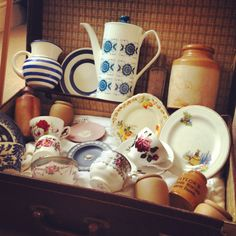 Open suitcase great way to display crockery / china for Vintage Fair / Market Stall