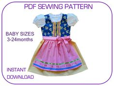 Baby Girl Dirndl pdf sewing pattern. 3-24 months. Folk dress