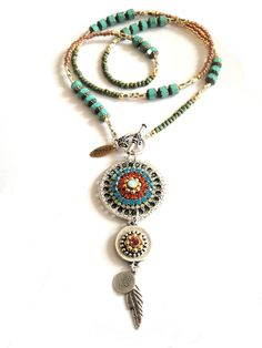 Long beaded bohemian hippie necklace with swarovski rhinestone pendant - gypsy style bead strand necklace. €89.00, via Etsy.