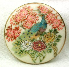 """Antique Satsuma Button Peacock & Peony Flowers Large Size 1 & 5/8"""" Stunning"""
