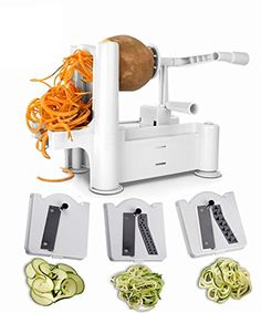Upgraded Spiral Fruit  Vegetable Slicer Spiralizer with 3 Stainless Steel Cutting Blades  Make Vegetable Noodles Pasta and Spaghetti At Home