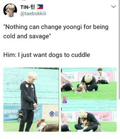 Yoongi has this cutest voice when he is with pets... my hearteu @BTS_twt
