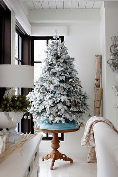 Frosted Christmas Tree on pedestal table