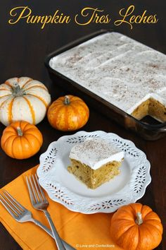 Pumpkin Tres Leches for #PumpkinWeek by Love and Confections