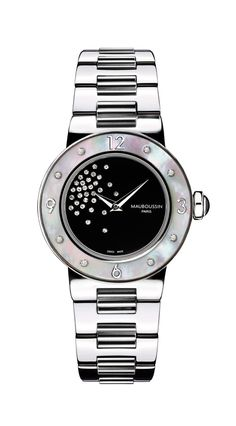 Nuit coquine, nuit Caline watch for her, by Mauboussin. Round dial, steel strap, bezel in white mother-of-pearl and diamonds.