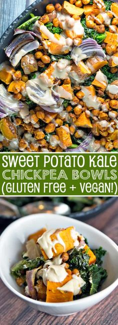 Sweet Potato Kale Chickpea Bowl   Gluten Free   Vegan   Comfort Food   Bunsen Burner Bakery via @bnsnbrnrbakery Sweet Potato Kale, Roasted Sweet Potatoes, Bunsen Burner, Healthy Comfort Food, Healthy Eating, Vegan Gluten Free, Gluten Free Recipes, Vegetarian Recipes, Kale Recipes