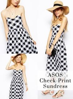 522f0345516d5 Poor Little It Girl - Weekly Weakness- ASOS Midi Bandeau Sundress in Check  Print -