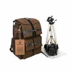 Koolertron Canvas Backpack Rucksack Bag for Cannon Nikon Panasonic Apple Asus Lenovo DSLR SLR Camera Notebook Laptop Camera Laptop Backpack, Waterproof Camera Backpack, Luggage Backpack, Rucksack Backpack, Canvas Backpack, Cannon Camera, Slr Camera, Camera Bags, Camera Gear