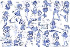 女の子制服ポーズ練習その3 / さきの新月 さんのイラスト - ニコニコ静画 (イラスト)