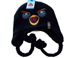 e5ec0011220 Angry Birds Black Bird Reversible Peruvian Laplander Beanie Hat
