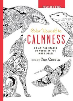 Color Yourself To Calmness Postcard Book 20 Animal Images In For Inner Peace