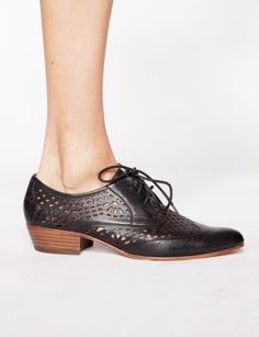 Orina Leather Brogues (stacked heel with cutout all over)
