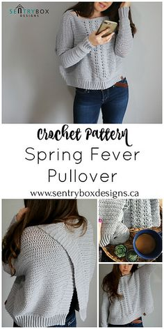 Crochet Patterns Pullover Ravelry: Spring Fever Pullover pattern by Sentry Box DesignsPadrão de pulôver Spring Fever por Sentry Box Designs – My WordPress WebsiteBeginner Sweater Projects - Pattern & Yarn Mailed to You!This is a PDF crochet patte Pull Crochet, Bag Crochet, Mode Crochet, Crochet Woman, Crochet Clothes, Crochet Dresses, Cardigan Au Crochet, Black Crochet Dress, Crochet Sweaters