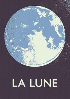 La Lune - Blue Moon print  'Double Merrick' is the internet shop of Merrick Angle, an English designer/illustrator  50 euro