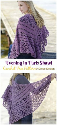 Evening in Paris Shawl Crochet Free Pattern - Crochet & Knitting Best Picture For boho crochet patterns For Your Taste You are looking for something, and it is going to tell you exactly what you are l One Skein Crochet, Crochet Shawl Free, Bag Crochet, Crochet Shawls And Wraps, Crochet Woman, Crochet Scarves, Crochet Clothes, Crochet Lace, Free Knitting