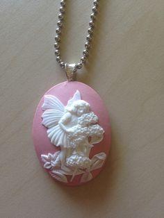 Garden fairy cameo pendant necklace