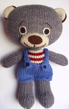 Medvídek pleteno z akrylové příze, výška 25cm, obličej vyšitý, plněno dutým vláknem