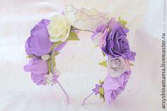 Ободок с цветами из фоамирана - сиреневый,свадьба,свадебные аксессуары