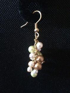 Glass Pearl Earings with Gold Tone by SparklingSarahs on Etsy