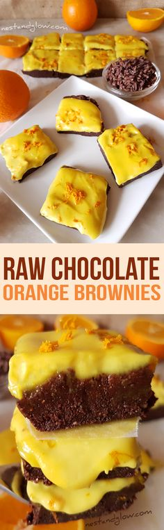 Raw Chocolate Orange Brownies with Cashew Orange Frosting Recipe - Vegan, Gluten-free and Paleo via @nestandglow