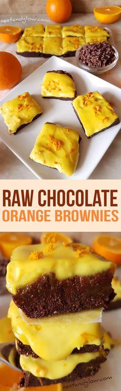 Raw Chocolate Orange Brownies with Cashew Orange Frosting Recipe - Vegan, Gluten-free and Paleo via @nestandglow