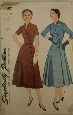 Vintage 1950s Sewing Pattern Simplicity 4087 Women s Front Buttoning Dress 38