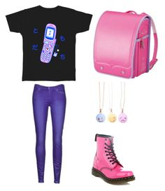 """""""Pink and purple"""" by madddgalriri ❤ liked on Polyvore featuring мода, 7 For All Mankind и Dr. Martens"""