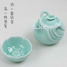 Chinese Longquan Celadon Porcelain Tea Set 1 Mandarin Duck Teapot and 1 Cup