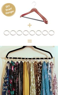 Use shower rings on a hanger for scarves & belts