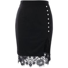 Black 2xl Eyelash Lace Trimmed Bodycon Slit Skirt ($13) ❤ liked on Polyvore featuring skirts, bodycon skirt, body con skirt, slit skirt, knee length bodycon skirt and lace trim skirt