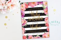 Baby Shower Invitation Black and White Stripe by LaLunaDesigns