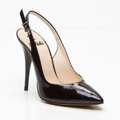 Fabi Sling Back Patent Leather Heels in Black featured in vente-privee.com