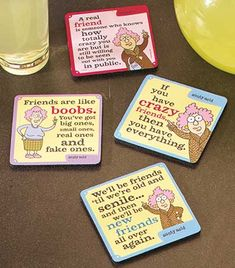 Serve up drinks with a side of sass with the Set of 4 Aunty Acid Coasters. Each has a different witty saying that's sure to amuse. The neoprene coasters are per