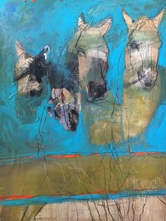 Helen Durant: Fording the Stream, mixed media with collage on canvas, 48 x 36 inches @ Thomas Deans Fine Art, Atlanta