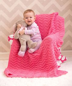 Knit Chevron Baby Blanket Free Knitting Pattern from Red Heart Yarns