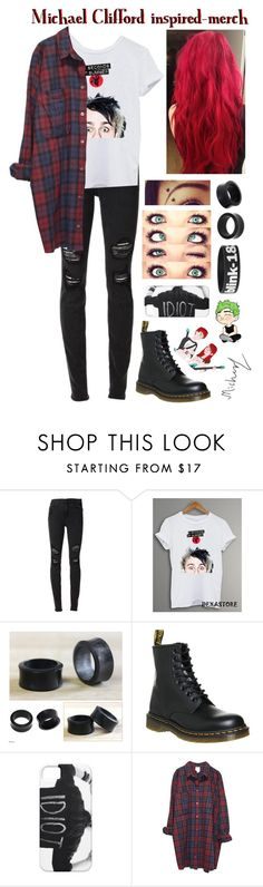 """Michael Clifford inspired-merch"" by roxouu ❤ liked on Polyvore featuring Joe's Jeans, NOVICA, Dr. Martens and Monki"
