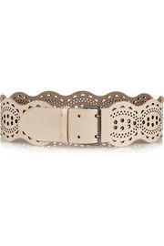 AlaïaScalloped laser-cut leather waist belt