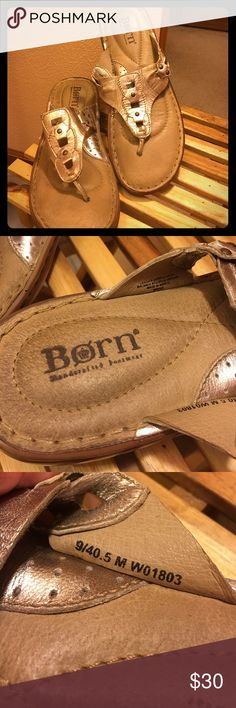 Born Sandals Gold Born Sandals.  Super comfy.  You have to try them.  Treat your feet to luxury.  Used size 9. Born Shoes Sandals