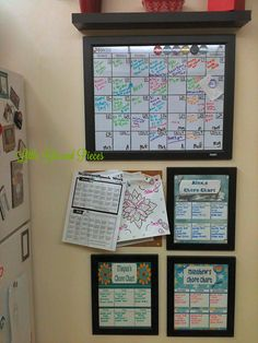 Family Command Center and Chore Charts - little bits and pieces. Use 12x14 pic frame and tape out calendar outline. Use dry erase markers and color code!