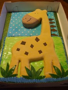 BUTTER CREAM FROSTING BABY SHOWER GIRAFFE CAKES IMAGES | boys baby shower. Carved from yellow sheet cake with buttercream ...