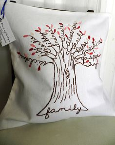 Personalized Family Tree Pillow Cover. White Linen with shades of PINK leaves. Mothers Day Gift.